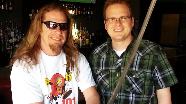 Outlaw Dave with 101 KLOL Runaway Radio shirt on with director Mike McGuff in 2014.