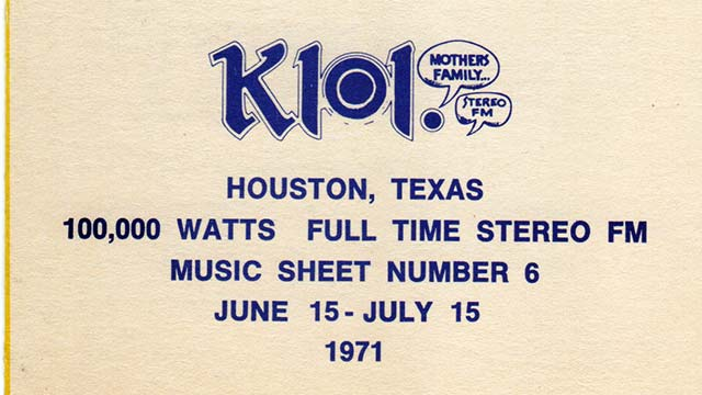 101 KLOL Music Sheet June to July 1971